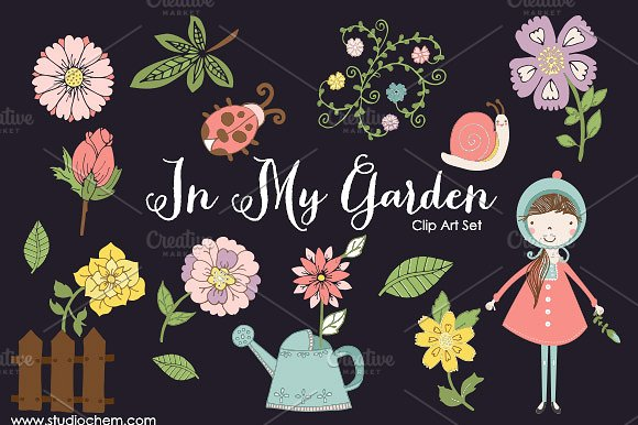In My Garden .PNG Clip Art Set ~ Illustrations on Creative Market.
