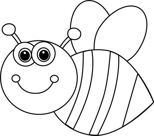 Black and White Cute Cartoon Bee Clip Art.