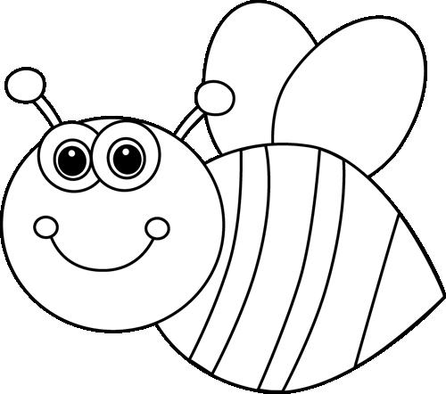 Black and White Cute Cartoon Bee Clip Art.