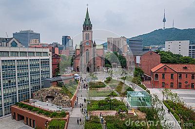 Myeongdong Cathedral Stock Photo.