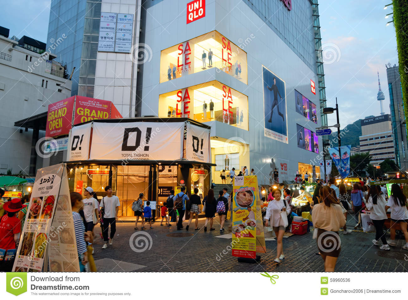 Myeongdong Shopping Area In Seoul, Korea Editorial Photo.