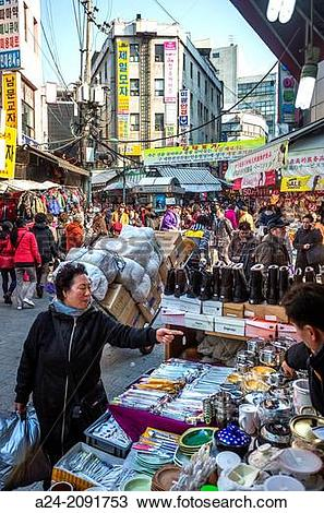 Stock Photo of Korea , Seoul City, Myeongdong District, street.