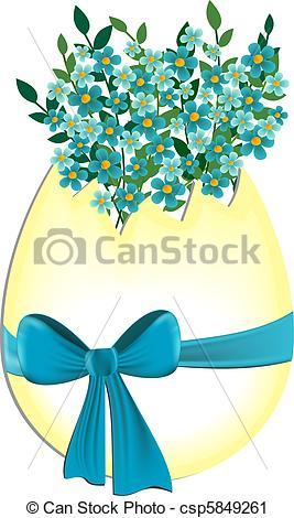 Vector Clip Art of Egg with myosotis flowers.