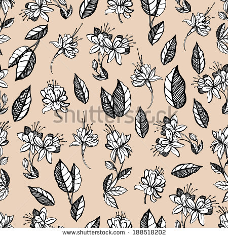 Pattern Sketches Flowers Fuchsia Stock Vector 187644380.