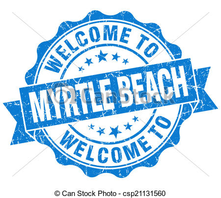 Stock Illustration of welcome to Myrtle Beach blue vintage.