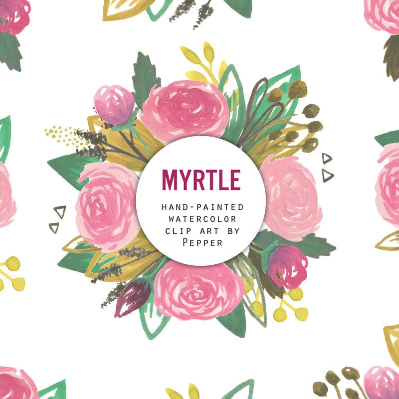 INSTANT DOWNLOAD Myrtle Watercolor Flowers Clipart Set Hi.