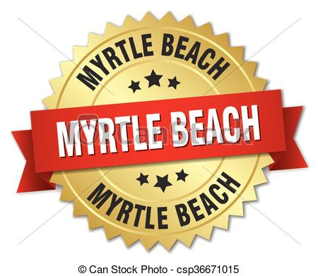 Vector Clip Art of Myrtle Beach round golden badge with red ribbon.