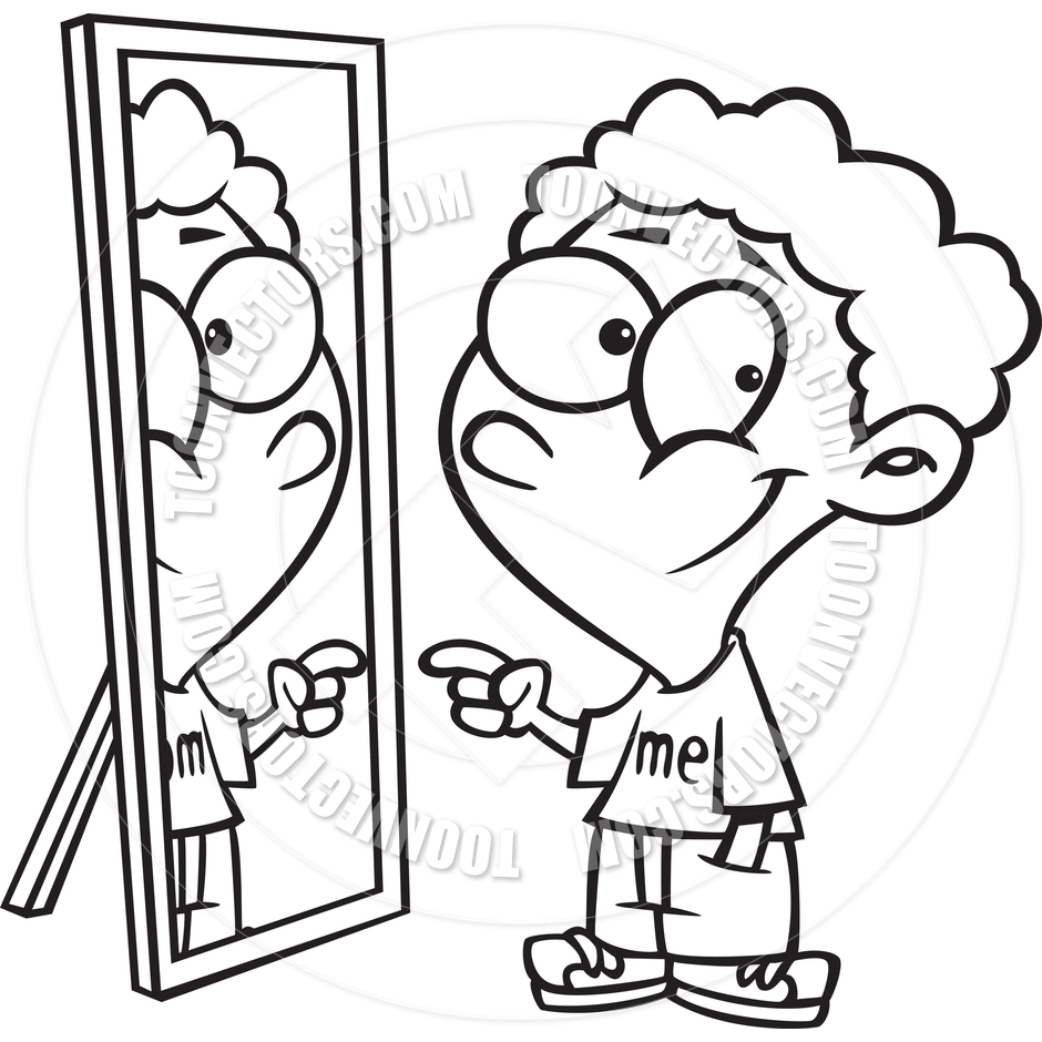 Looking In Mirror Clipart Black And White.