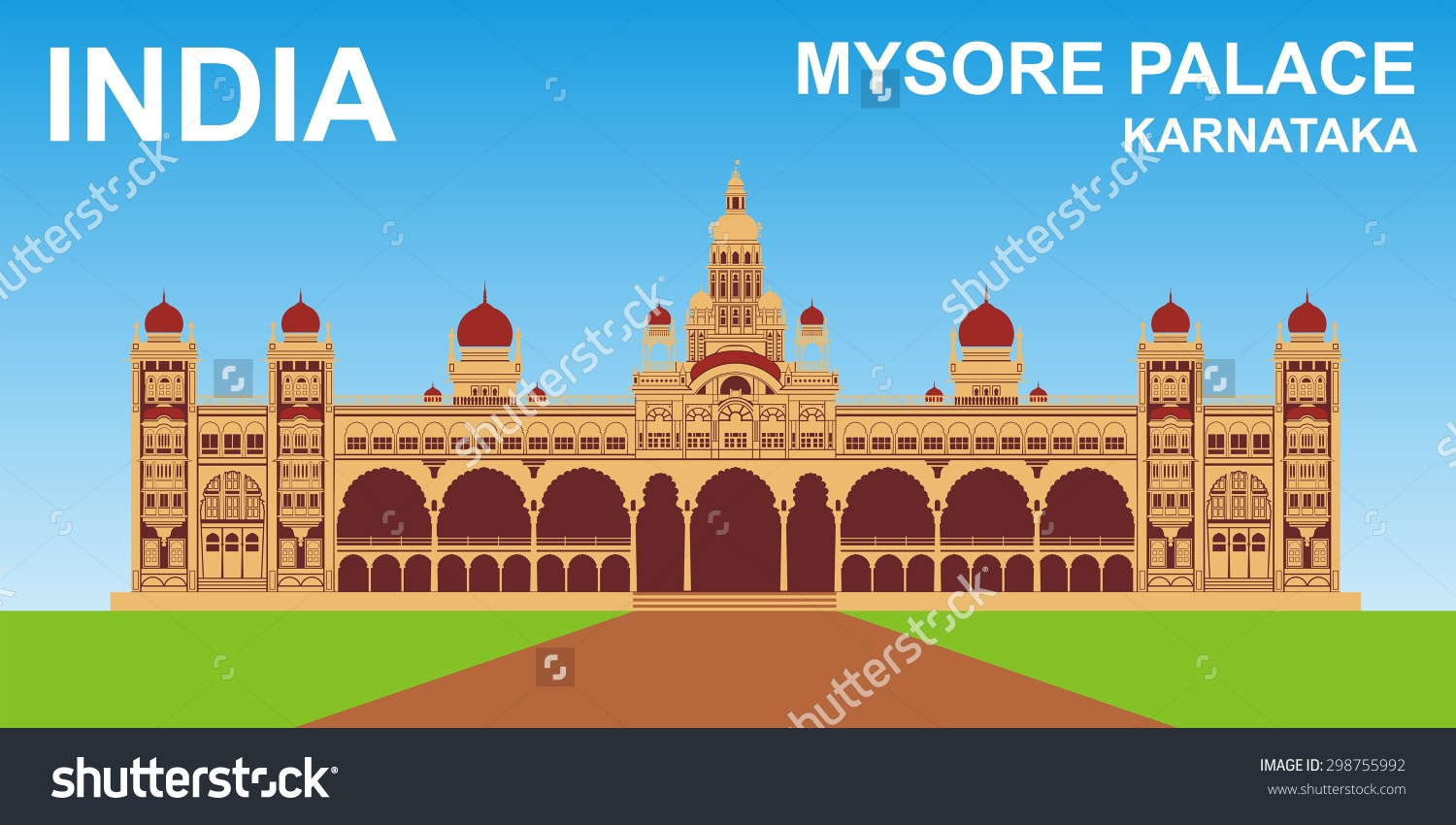 Mysore Palace Karnataka India Stock Vector 298755992.