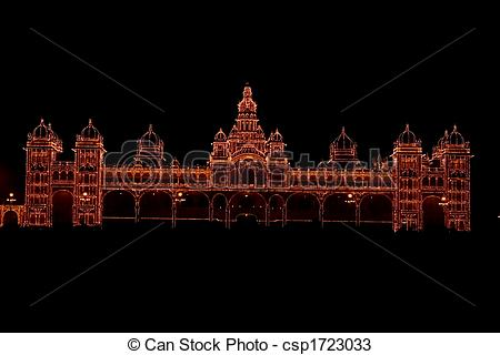 Stock Photos of Mysore palace lighting.