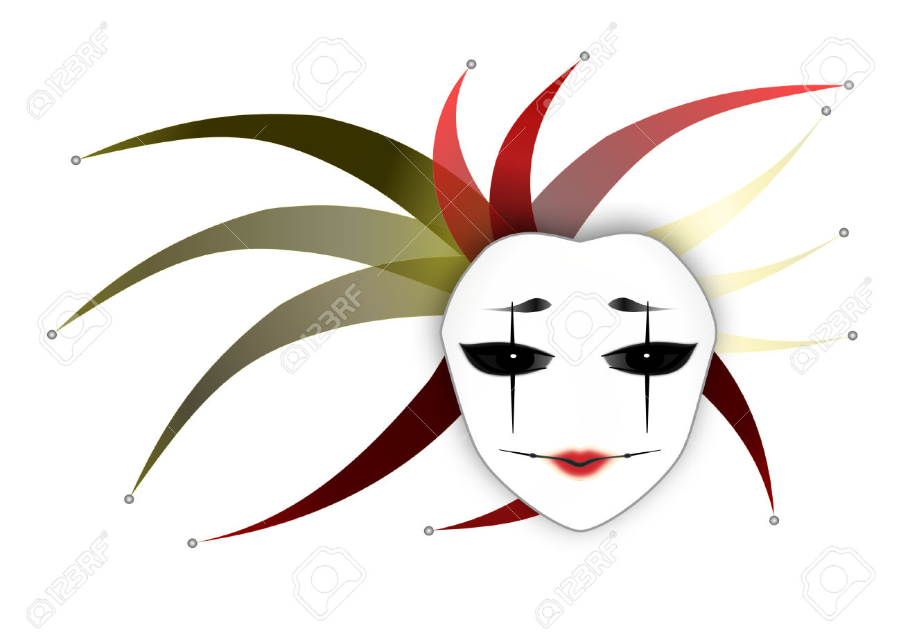 Mysterious Woman Mask Joker Lady White Background Vector.