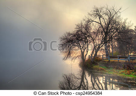 Pictures of HDR landscape mystic foggy scene.