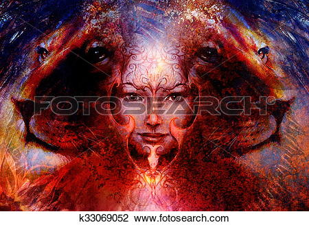 Clip Art of painting mighty lion head on ornamental background and.