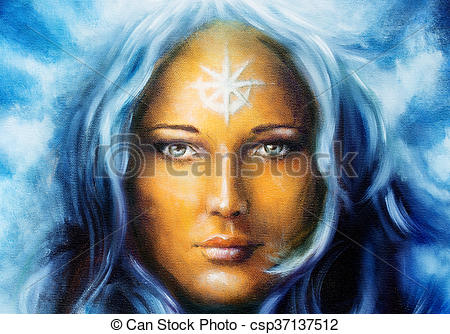 Clipart of mystic face women, with white tattoo. eye contact.