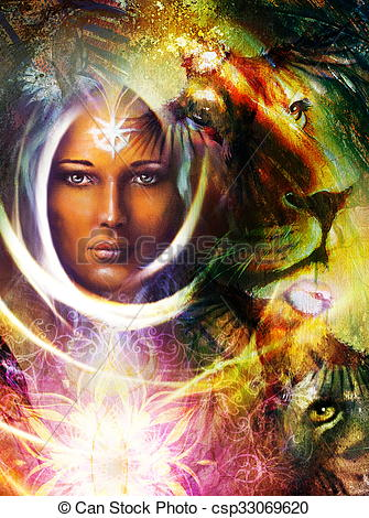 Clip Art of painting mighty lion and tiger head, and mystic woman.