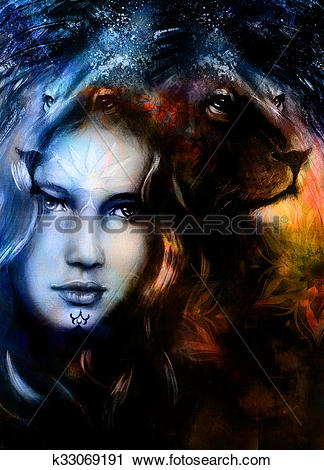 Clipart of painting mighty lion head on ornamental background and.