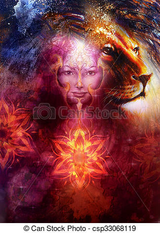 Clipart of painting mighty lion head, and mystic woman face with.