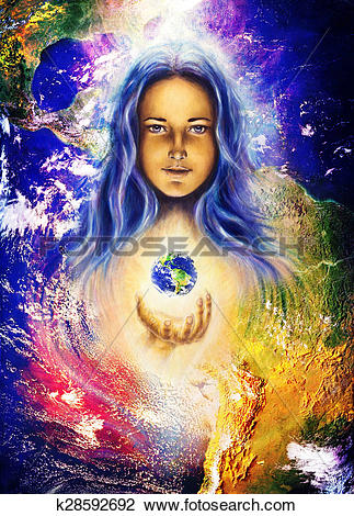 Clip Art of Mystic woman and earth collage. Hands holding planet.