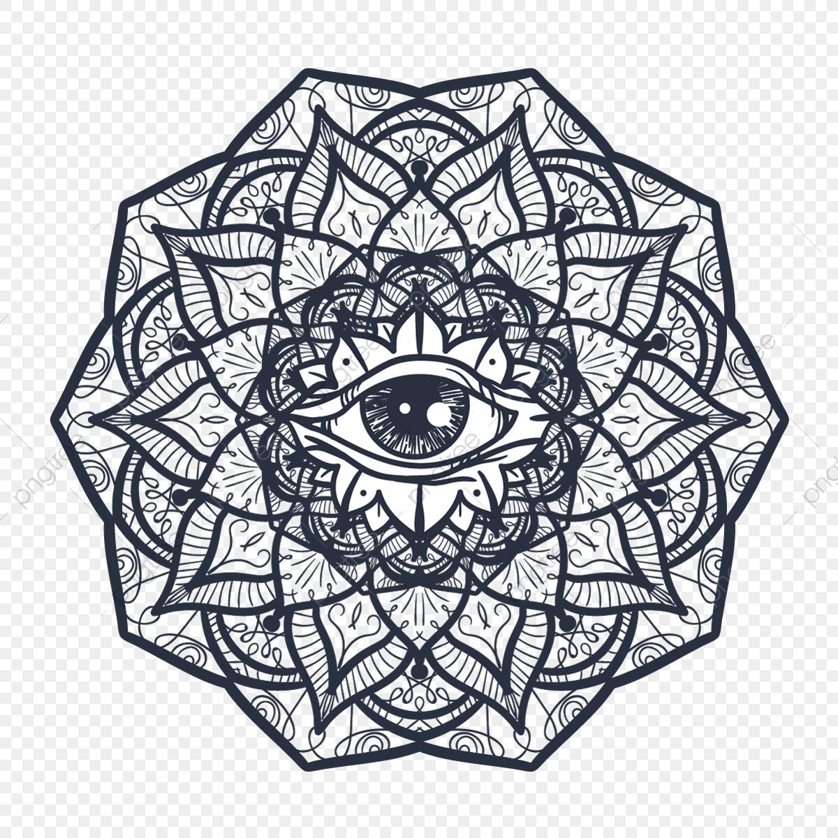 Mystical Mandala With Eye, Eye, Symbol, Illustration PNG and.