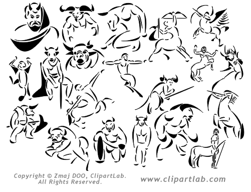 Mythical creatures clipart.