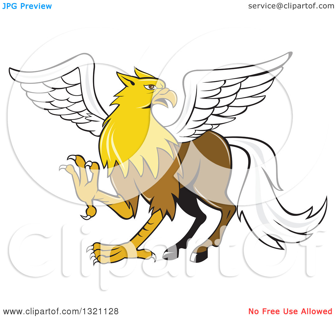 Clipart of a Cartoon Hippogriff Mythical Creature.