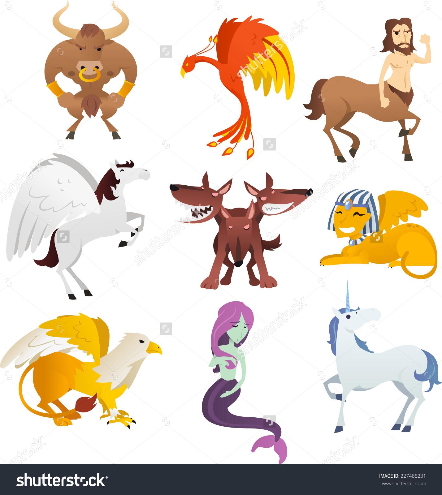 Mythological Creatures Animals Unicorn Phoenix Sphinx Stock Vector.