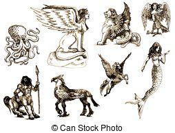 Fantasy creatures clipart.