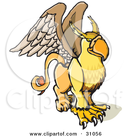 Clipart of a Cute Griffin Mythical Creature Rearing or Flying.