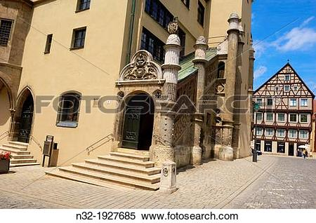 Stock Image of Nordlingen, Market square, Town Hall, Romantic Road.