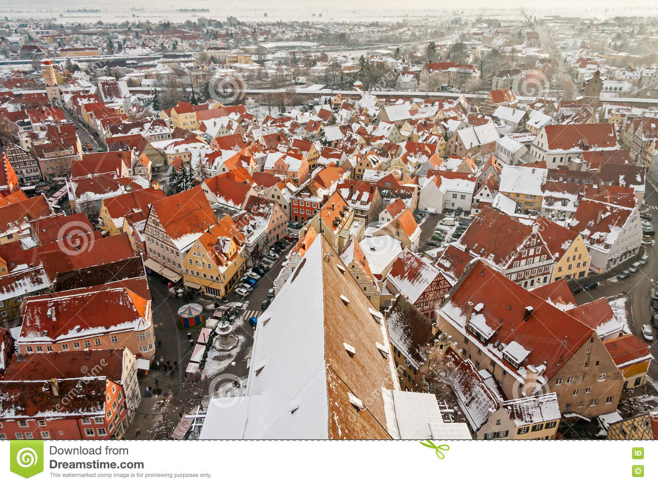 Panoramic Top View On Winter Medieval Town Within Fortified Wall.