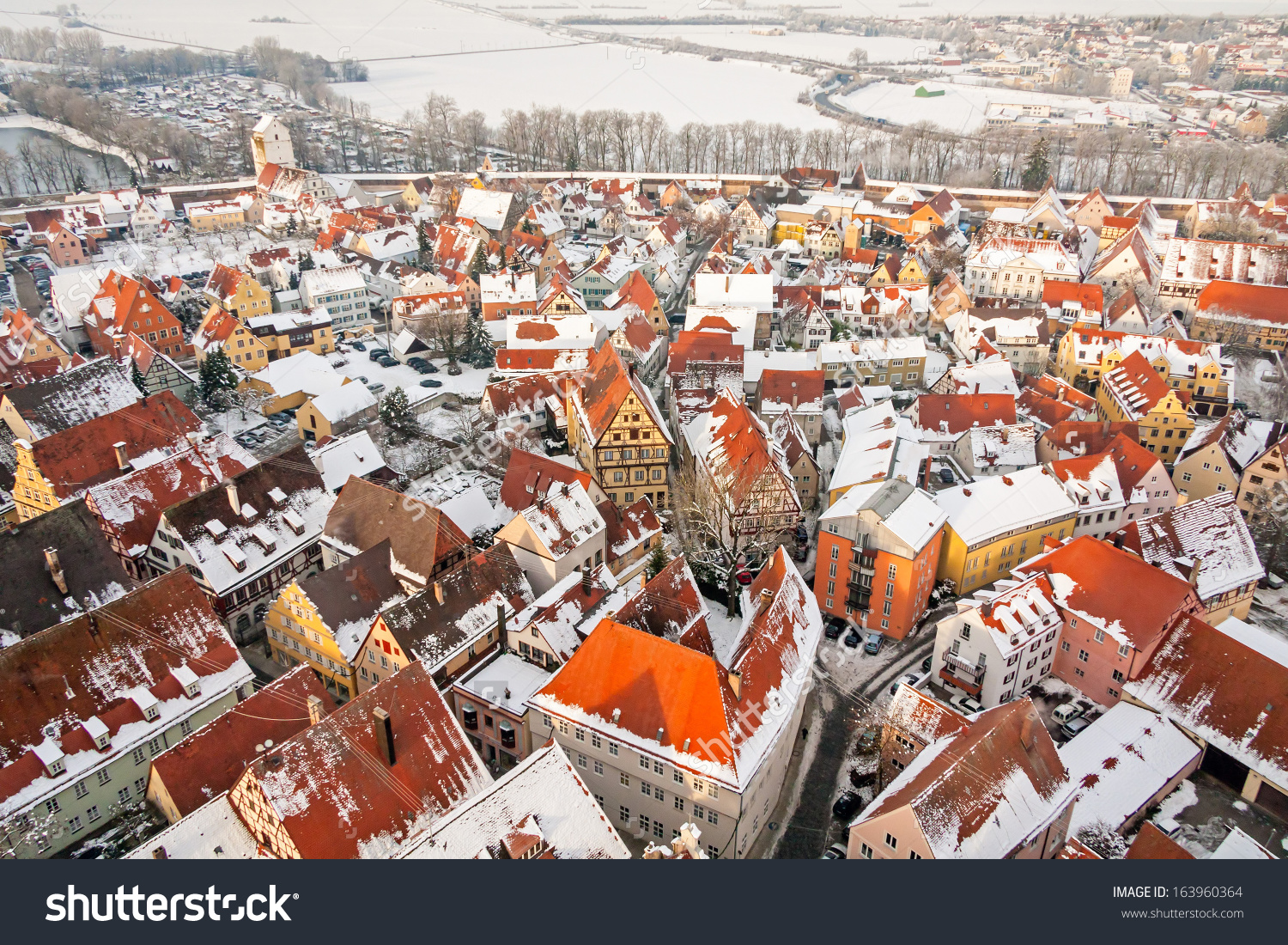 Winter Panorama Of Medieval Town Within Fortified Wall. Top View.