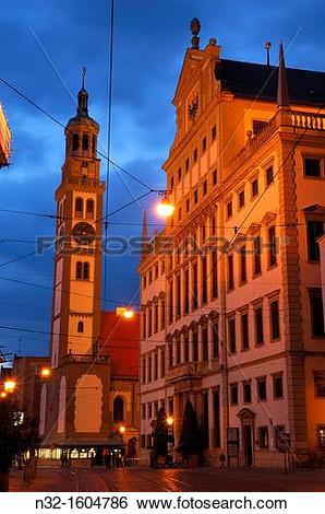 Stock Images of Maximilianstrasse (Maximilian street), Perlachturm.