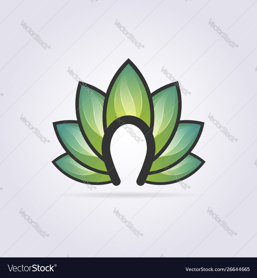 Creative leaf logo with letter n design clipart.
