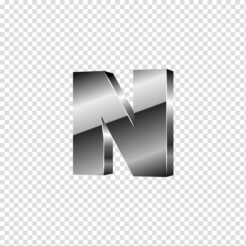 Gray N logo, Letter M Font, Silver black letters N.