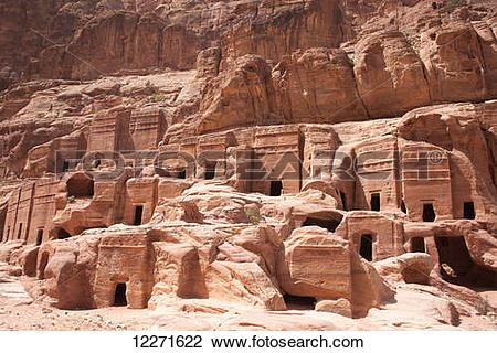 Stock Photo of Nabataean and Roman tombs; Petra, Jordan 12271622.