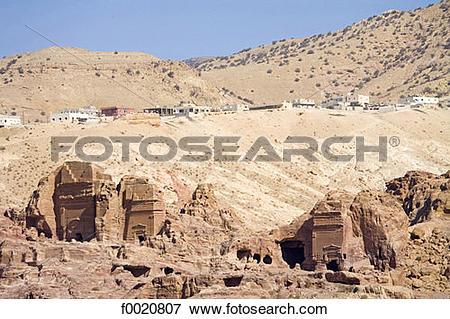 Picture of Jordan, Petra, Nabataean tombs f0020807.