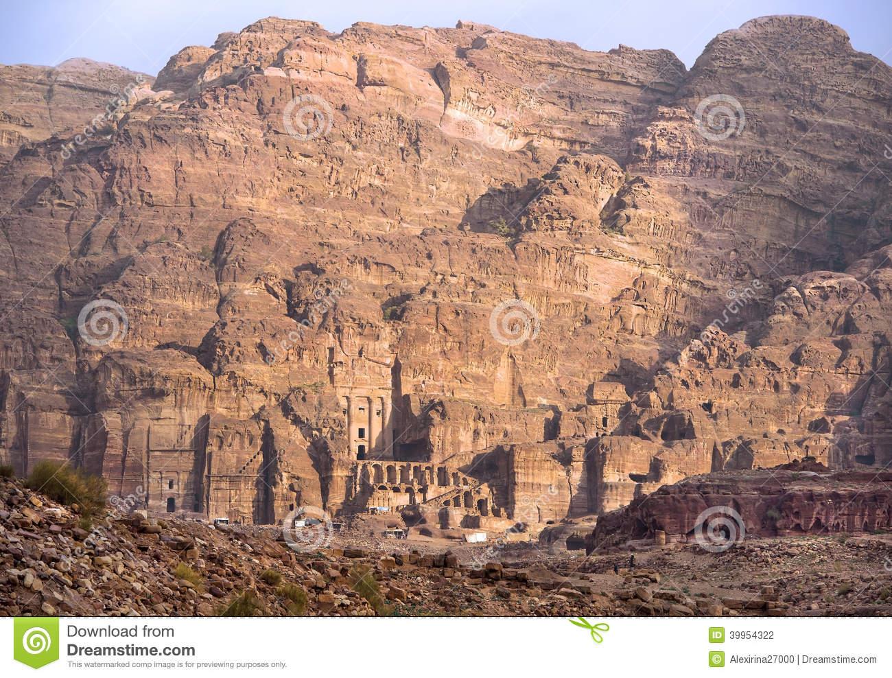 Remains Of Nabatean City Petra In Jordan Stock Photo.