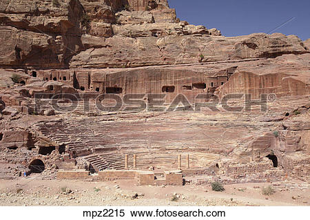 Stock Image of Nabataean theater, Petra, Jordan mpz2215.