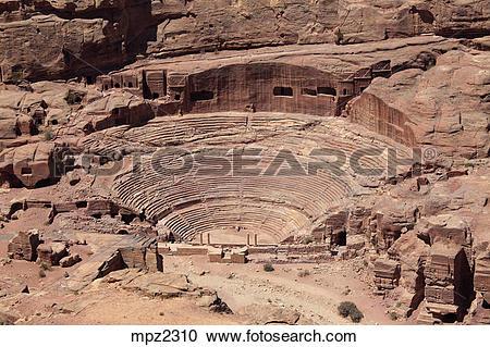 Stock Photography of Nabataean theater, Petra, Jordan mpz2310.