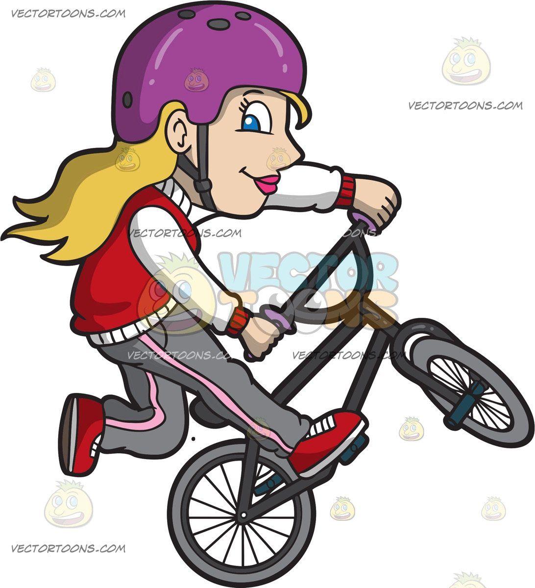 A Sporty Woman Doing A Nac Nac Bmx Trick: A woman with.