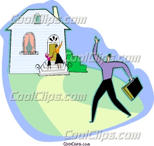 Father arriving home Clip Art.