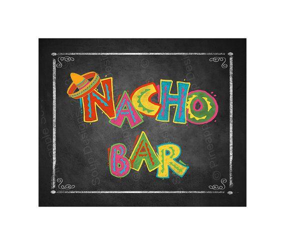 Fiesta Party NACHO BAR sign in chalkboard style.
