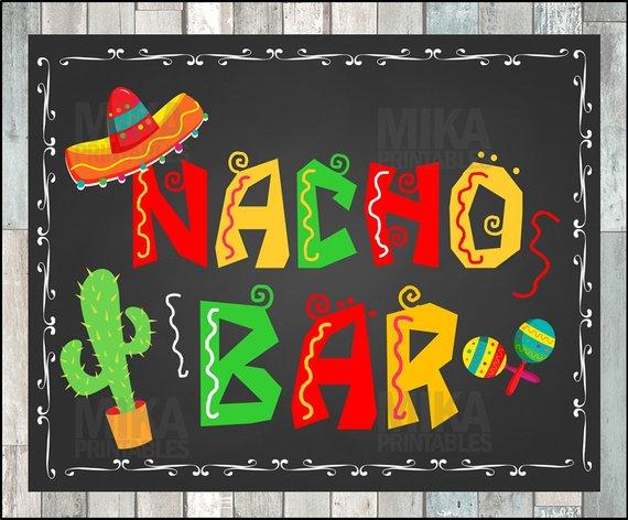 Printable NACHO BAR sign, taco party sign, Birthday Fiesta.