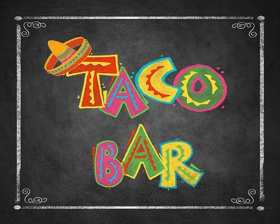 Printable Taco Bar Sign, Fiesta Taco Buffet Sign, Build your.