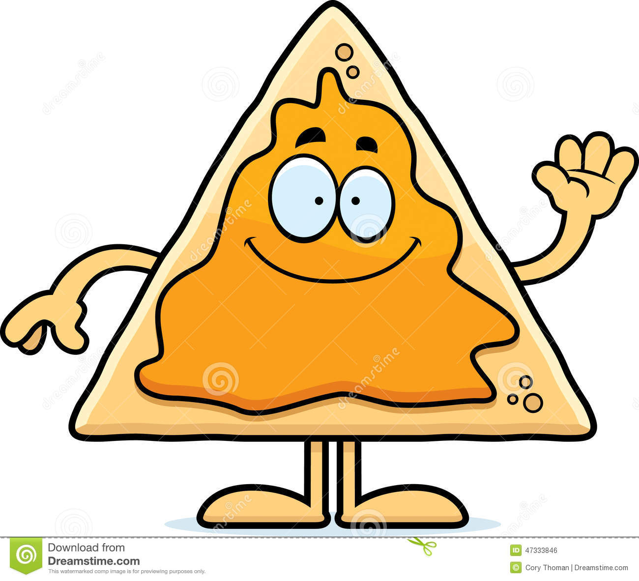 Cartoon Nachos Waving stock vector. Illustration of clipart.