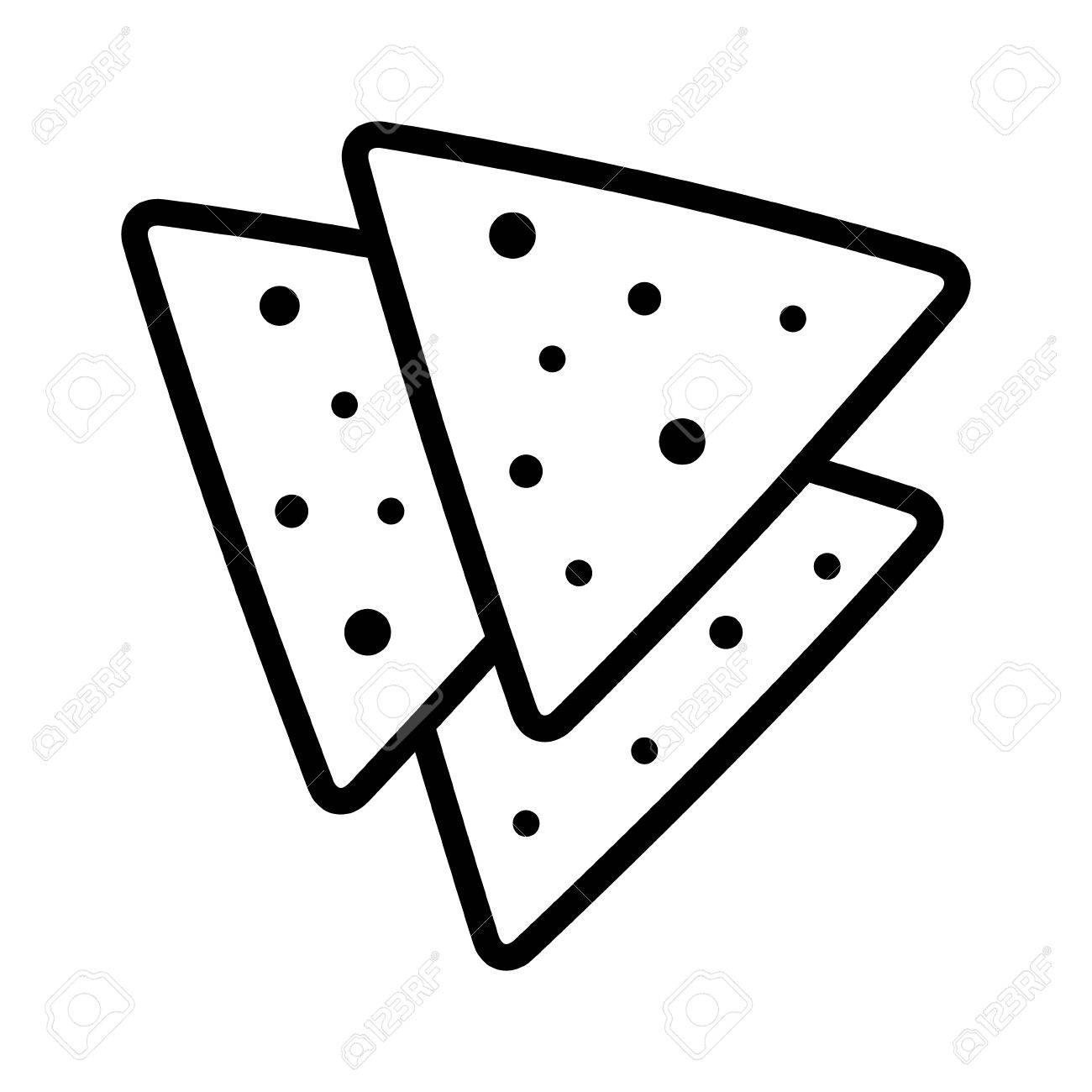 Tortilla chips or nachos tortillas line art icon for apps and...