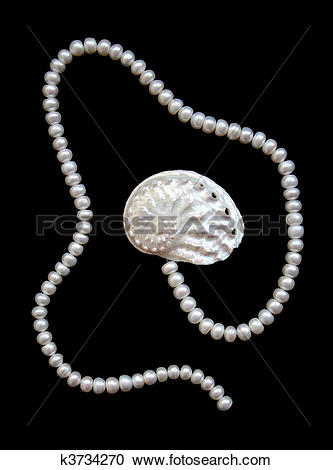 Stock Photography of White pearls and nacreous cockleshell.