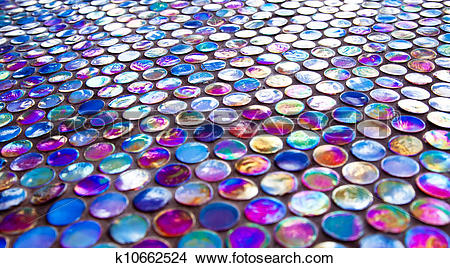 Stock Photo of Glass nacreous round glossy mosaic tile k10662524.