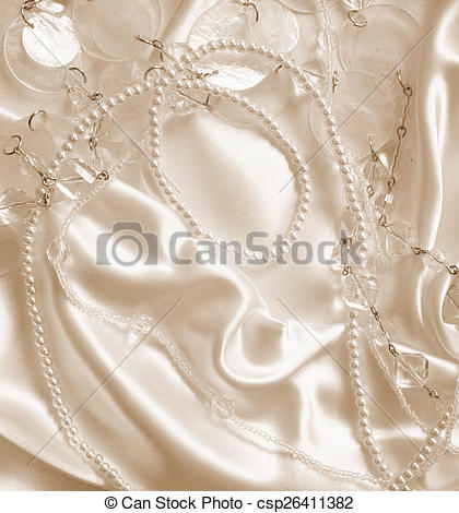 Pictures of Pearls and nacreous beeds on silk as wedding.