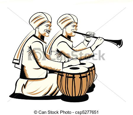 Clipart of indian musical performers.